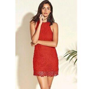 Lovers+Friends Caspian Rust Red Lace Sheath Dress